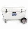Tundra 65 Qt with Badger Wheels Axle - Large Wheels resting on Badger Handle