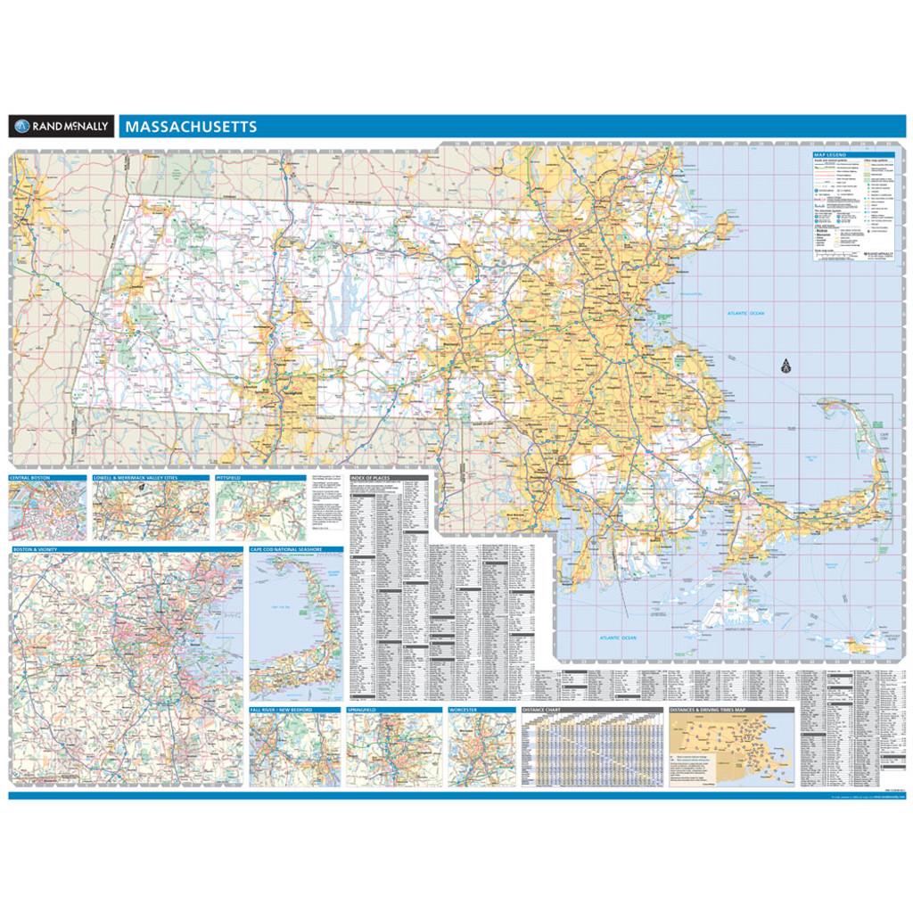 Rand McNally Massachusetts State Wall Map