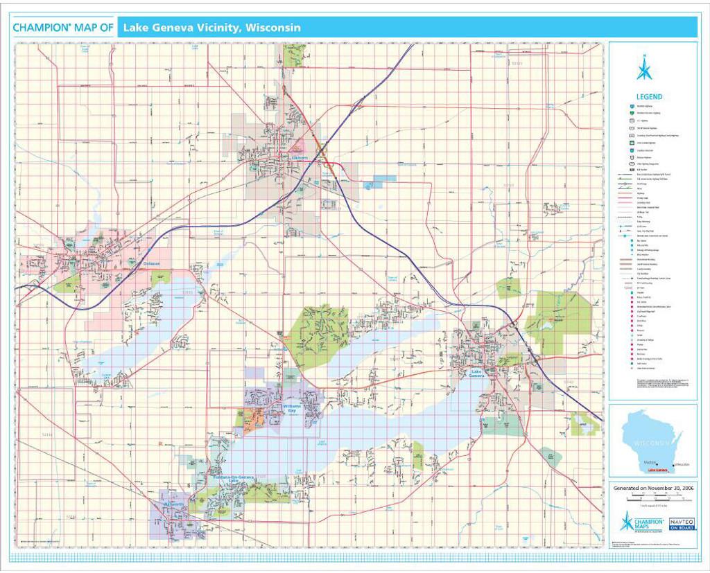 Champion Lake Geneva Wall Map