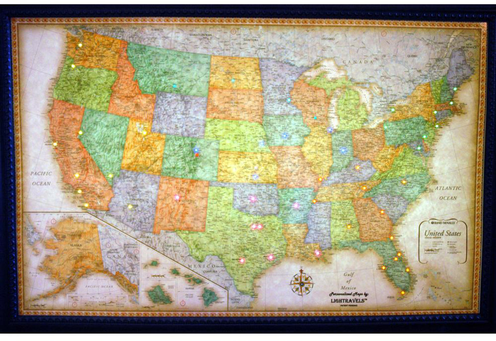 Classic Edition Illuminated USA Wall Map Charming