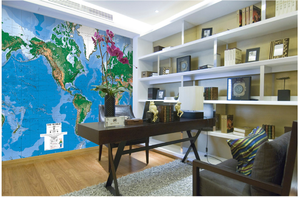 World Wall Laminated Mural Map