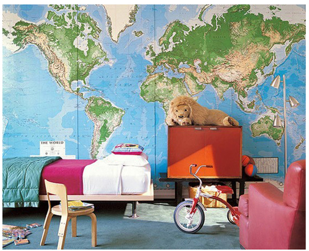 world mural wall map laminated