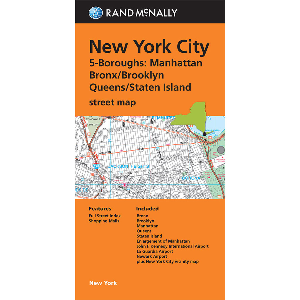 Folded Map: New York City 5 Boroughs (Manhattan/Bronx/Brooklyn/Queens/Staten Island)