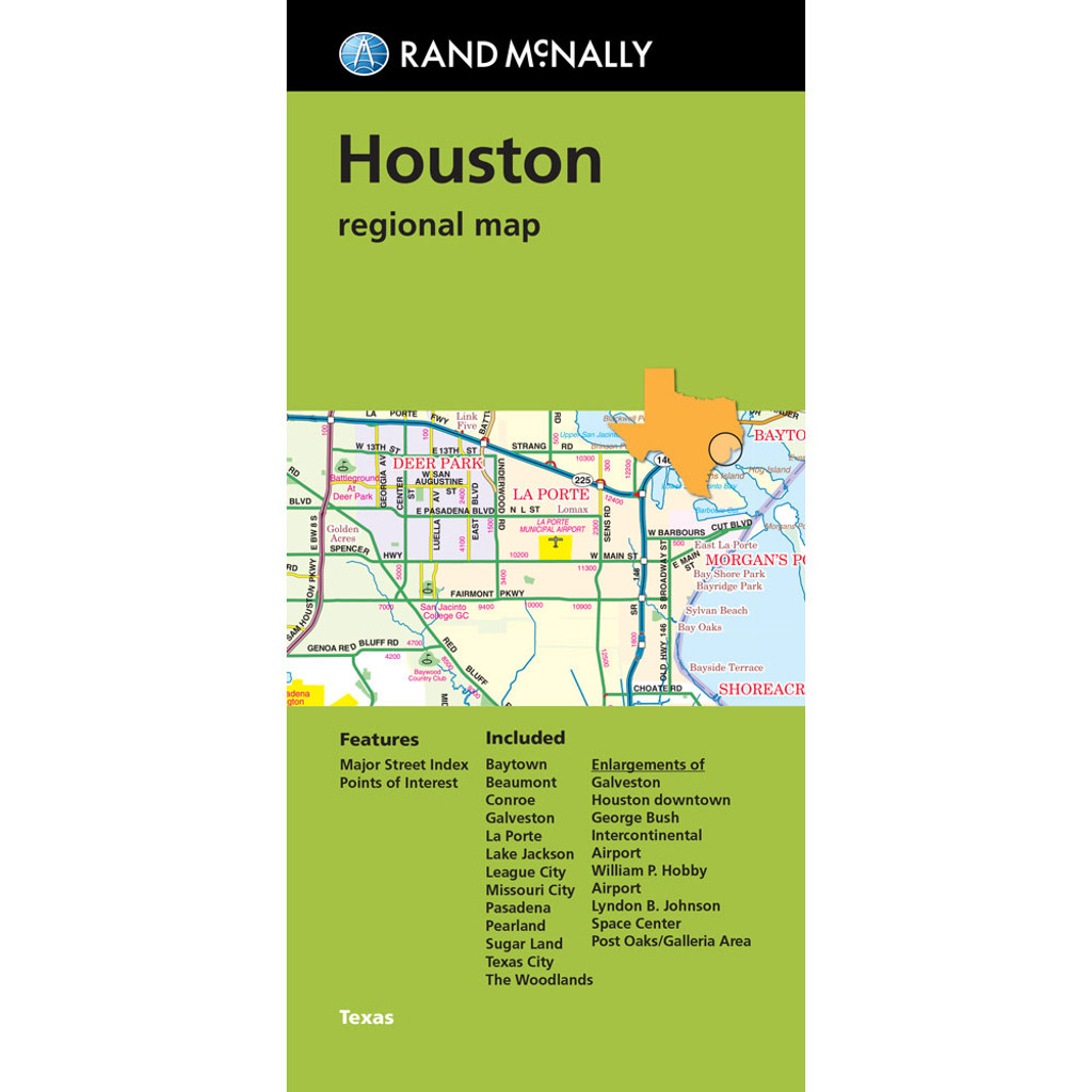 Folded Map Houston Regional Map Rand McNally Store - Rand mcnally easy to fold maps