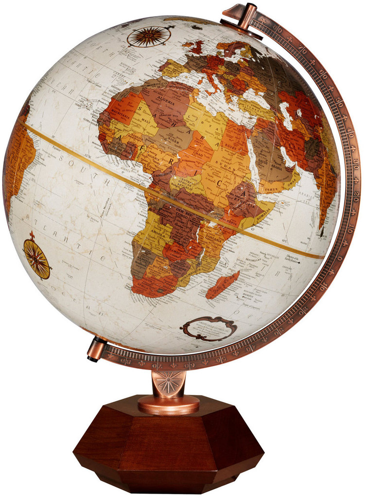 "Hexhedra Bronze Metallic 12"" Desk Globe"