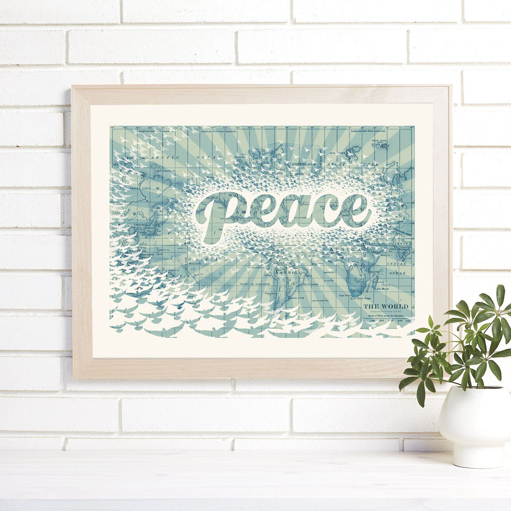 """""""Peace on Earth"""" Lithograph Wall Map"""