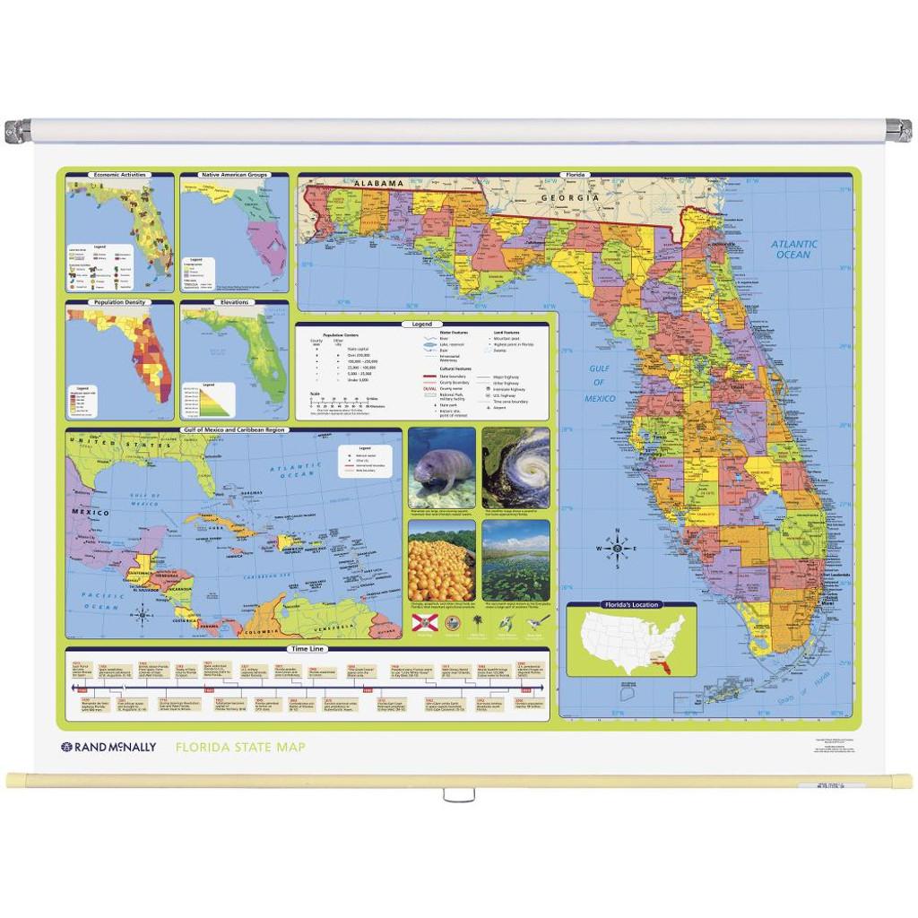 Florida Political State Wall Map Rand McNally Store