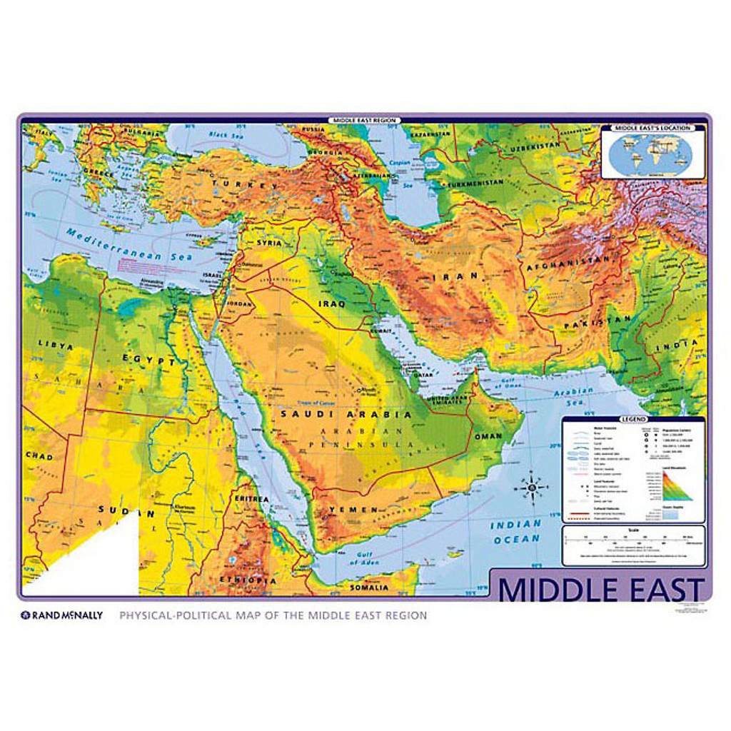 Middle East Physical-Political Wall Map