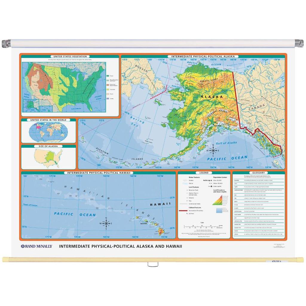 Alaska Physical Political State Wall Map