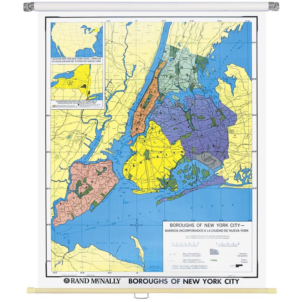 New York City Boroughs Wall Map Rand McNally Store