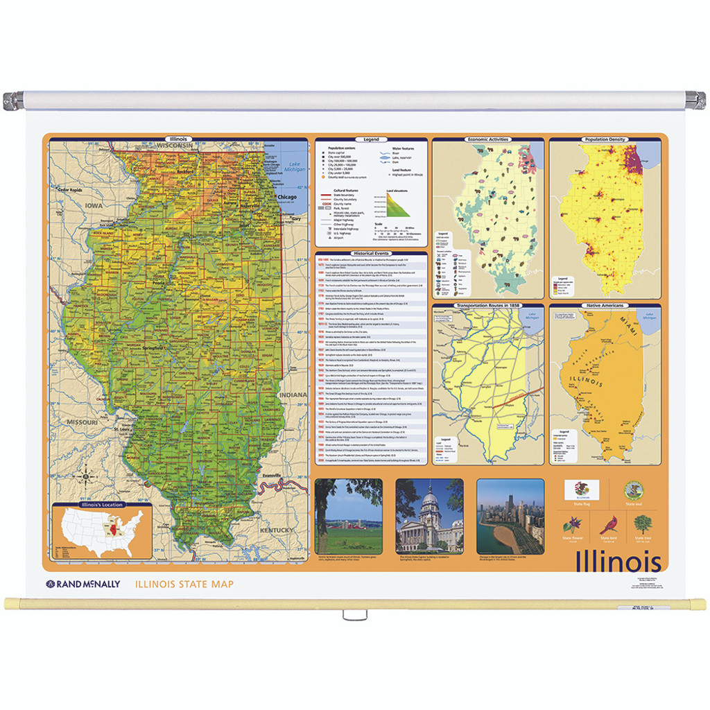 Illinois Physical-Political State Wall Map