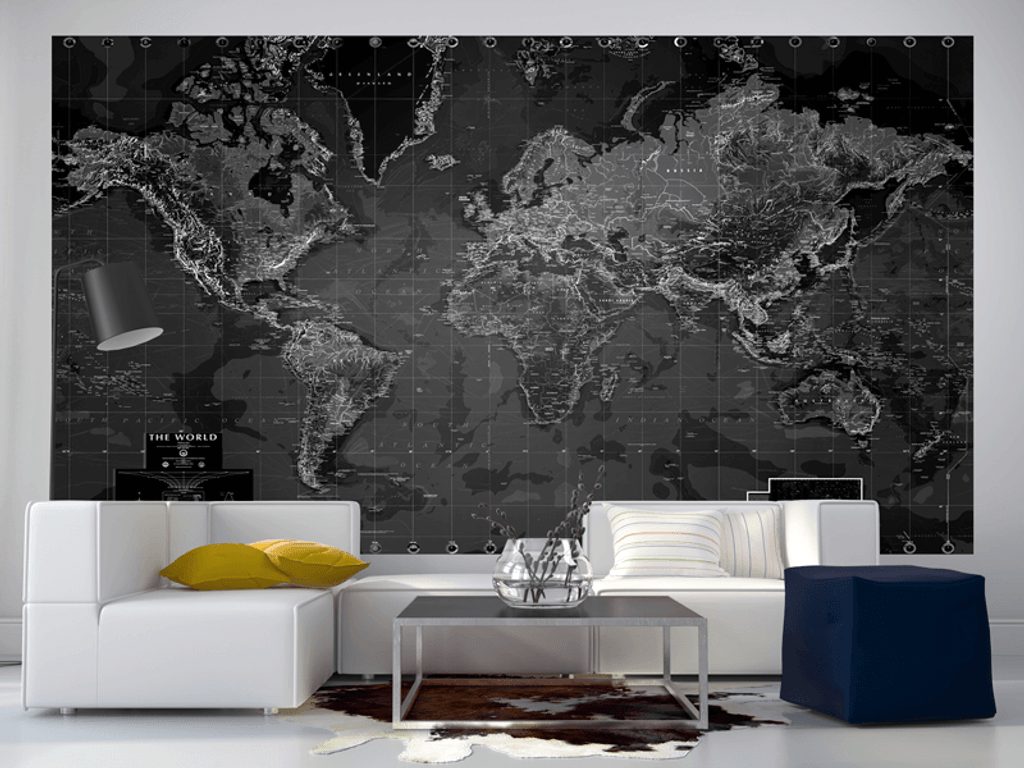 Black and white world map wall mural rand mcnally store black and white world map wall mural gumiabroncs Image collections