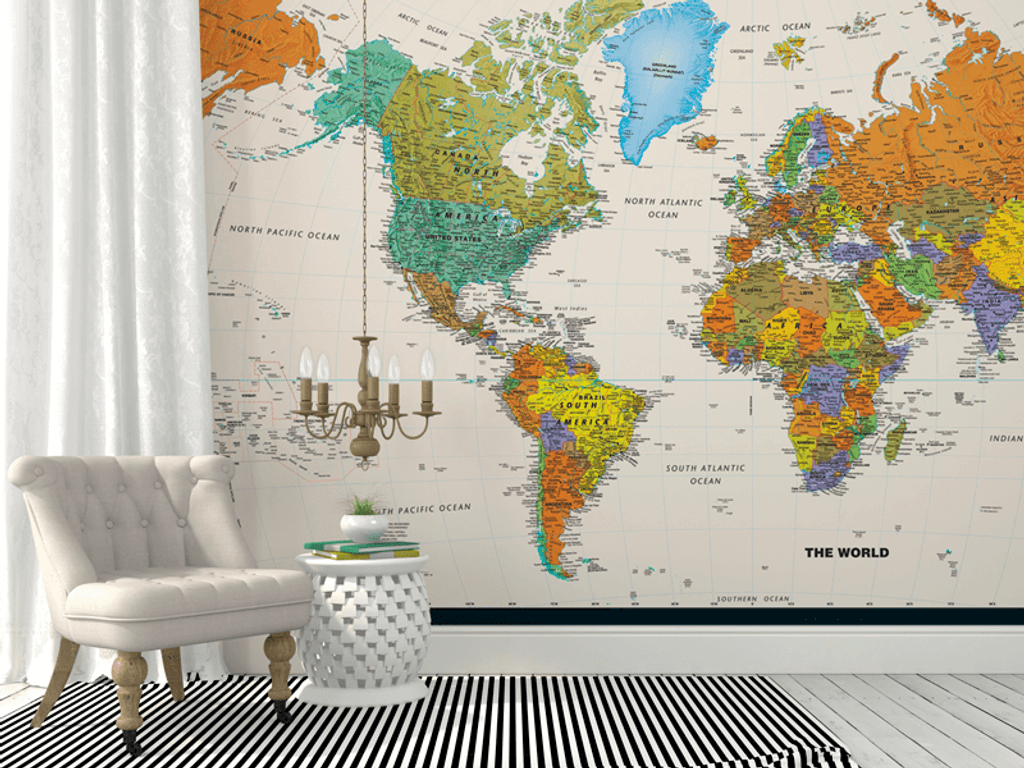 Contemporary World Map Wall Mural Rand McNally Store