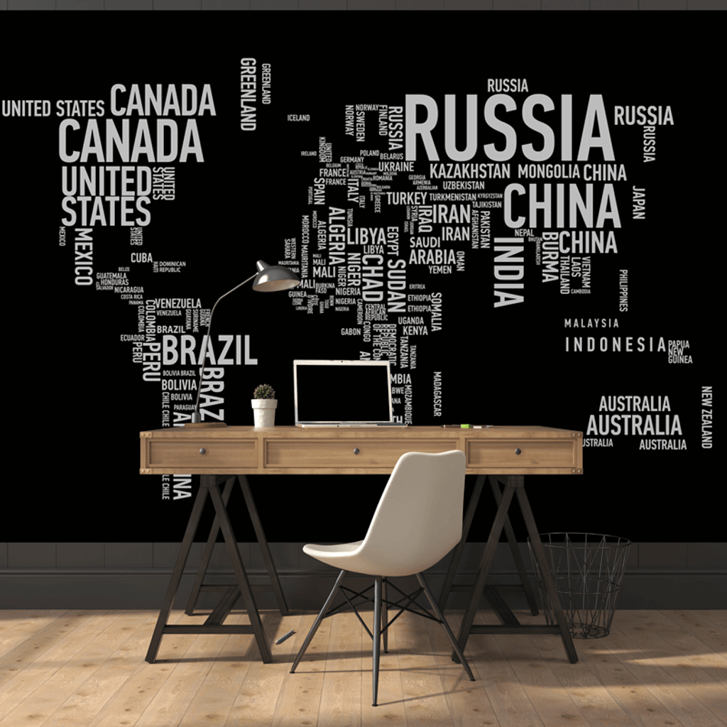 Wordcloud world map wall mural rand mcnally store wordcloud world map wall mural gumiabroncs Image collections