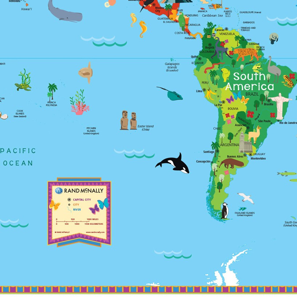 Kids illustrated map of the world rand mcnally store kids illustrated map of the world gumiabroncs Choice Image