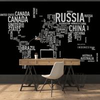 Wordcloud World Map Wall Mural