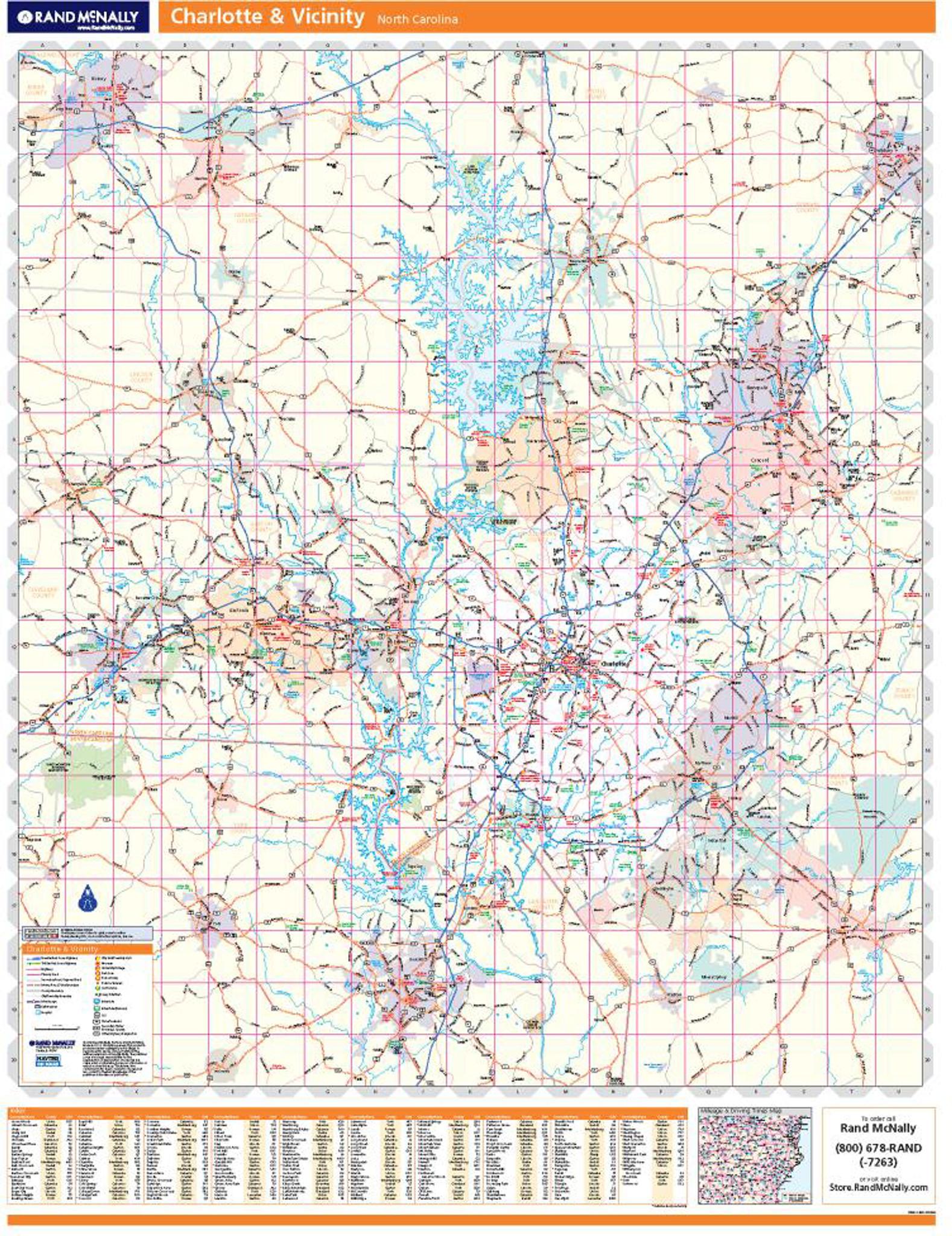 Rand McNally Charlotte Regional Wall Map