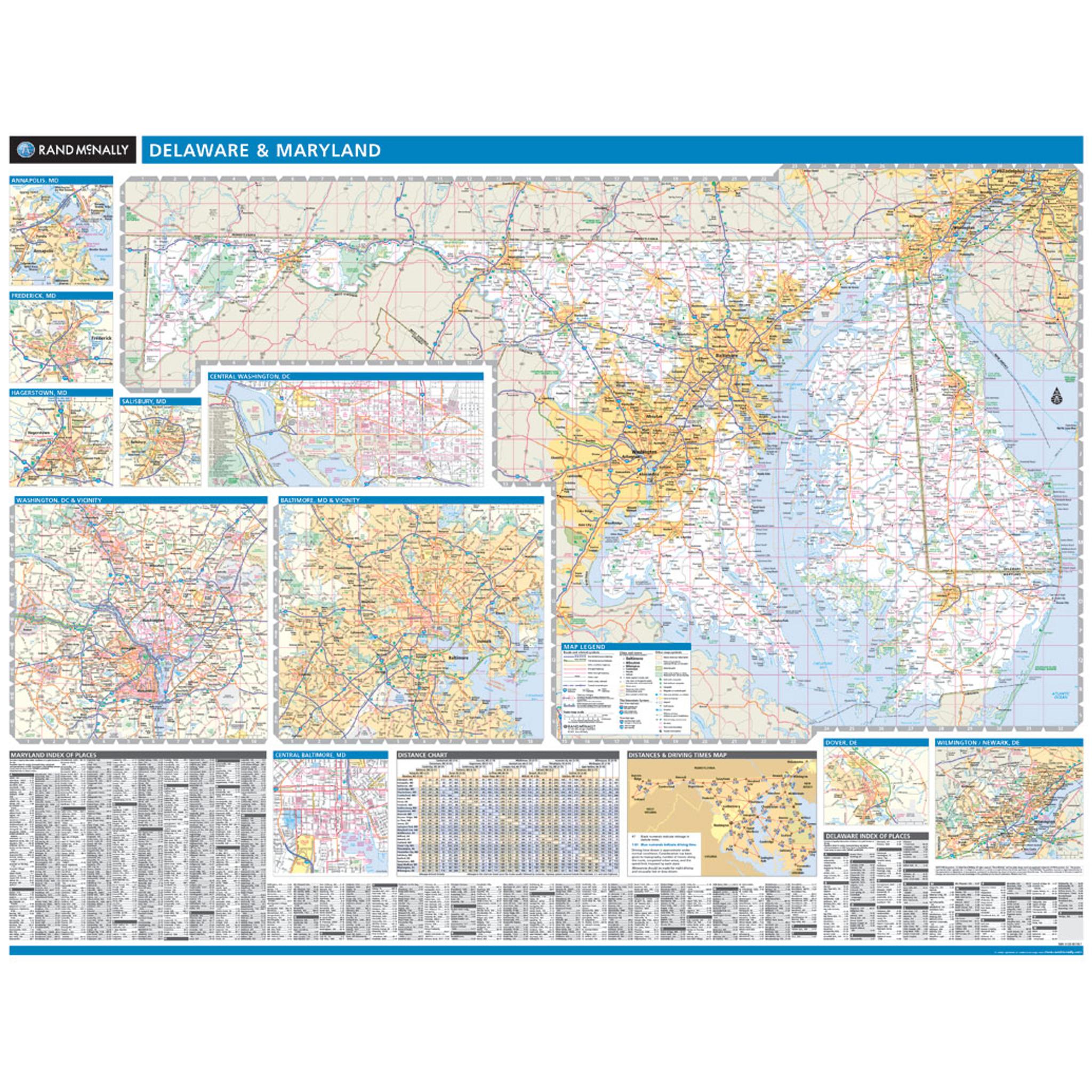 Rand McNally Maryland / Delaware State Wall Map