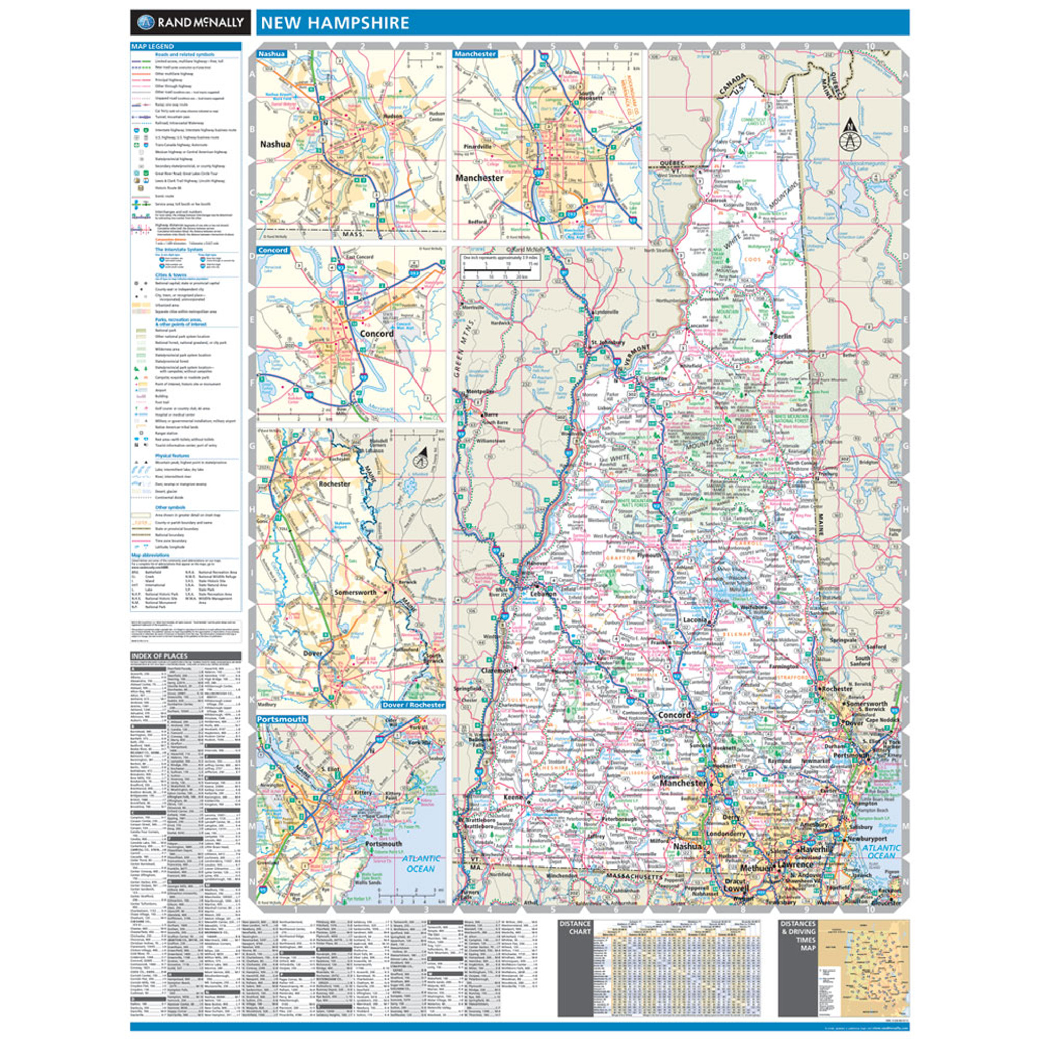 Rand McNally New Hampshire State Wall Map