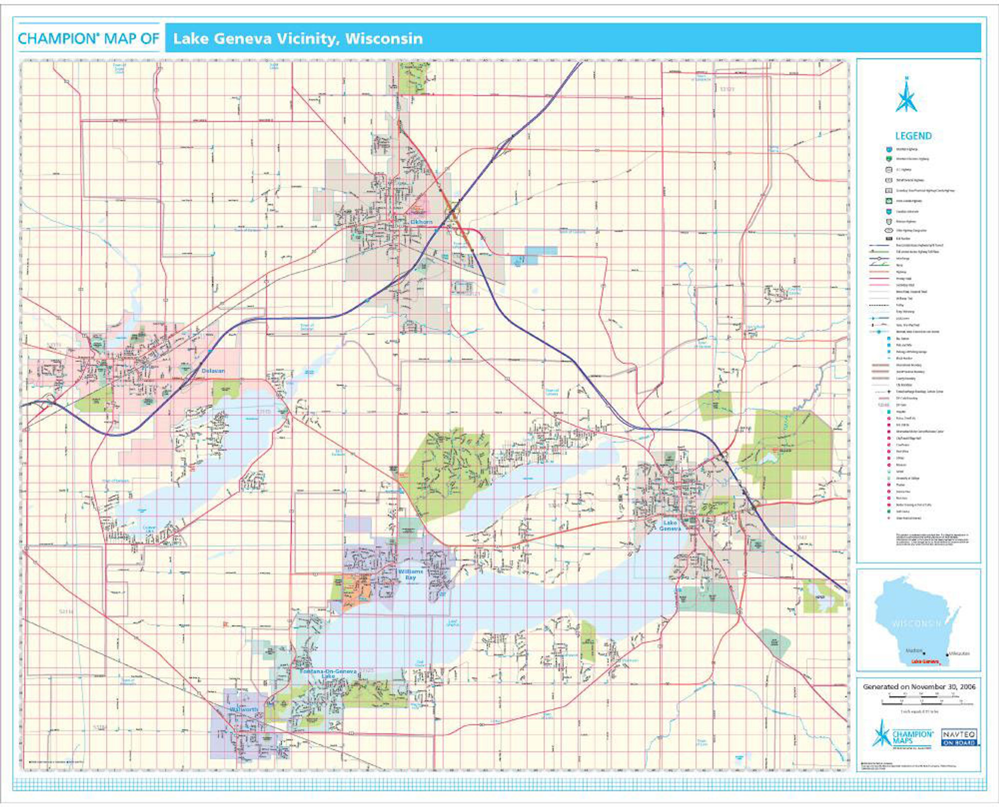 Champion lake geneva wall map pro series wall map lake geneva wi gumiabroncs Images