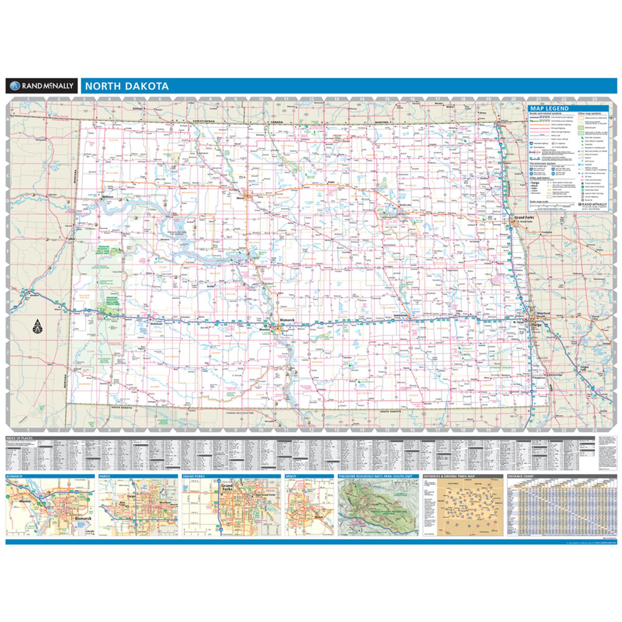 Rand McNally North Dakota State Wall Map