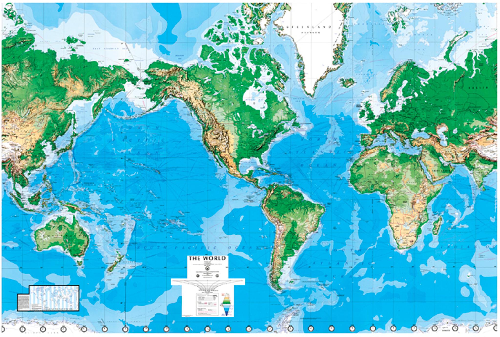 World Wall Laminated Mural Map