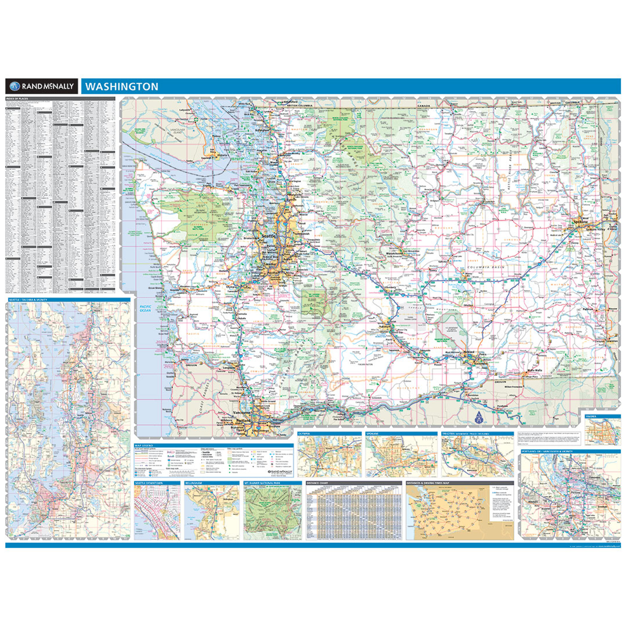 Rand McNally Washington State Wall Map