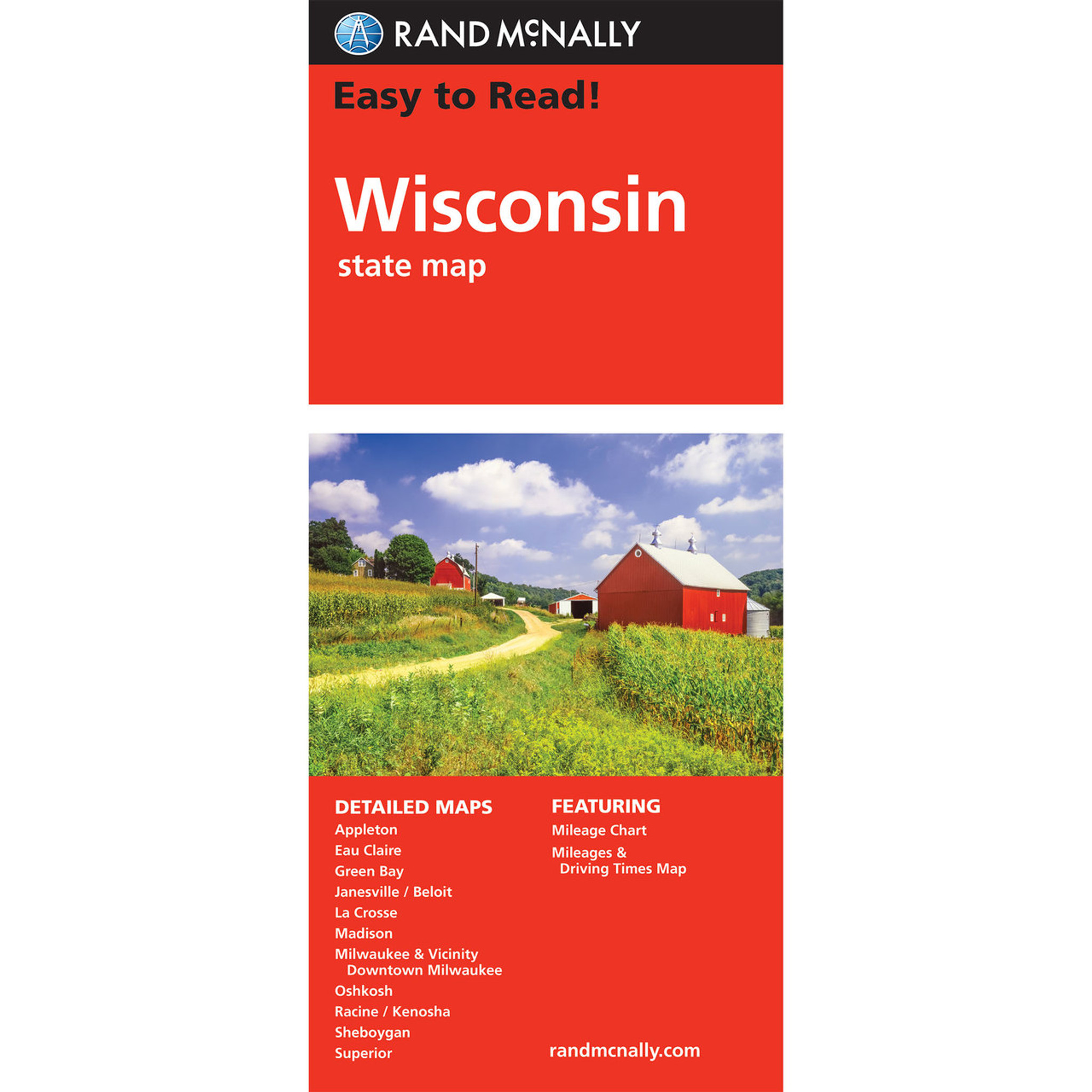 Rand McNally Easy To Read State Folded Map Wisconsin