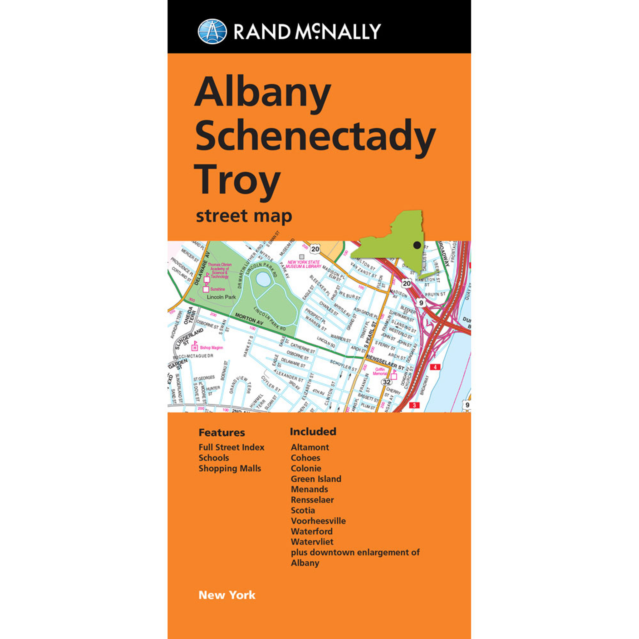 Folded Map Albany Schenectady Troy Street Map Rand McNally Store