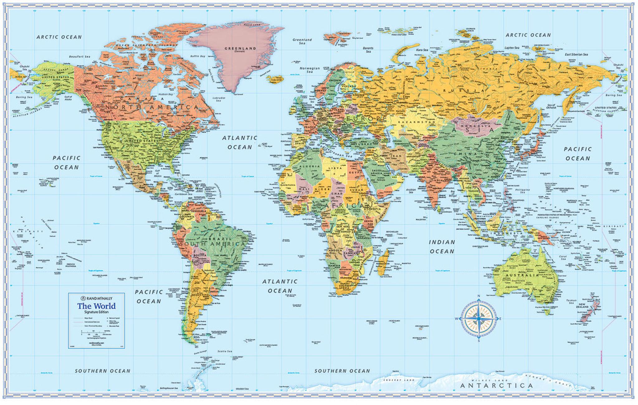 Signature edition world wall maps rand mcnally store signature edition world wall maps gumiabroncs Image collections