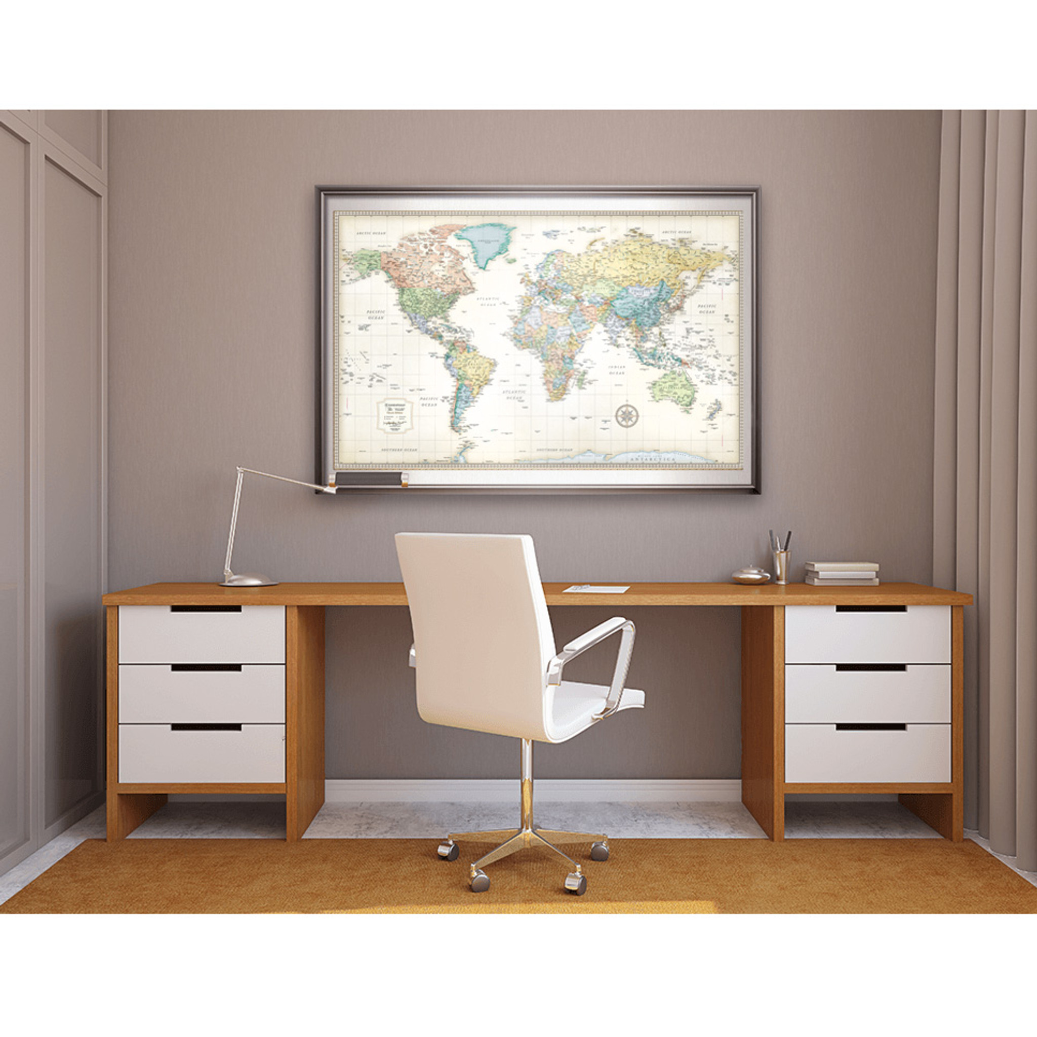 Classic Edition World Framed Wall Map Rand Mcnally Store