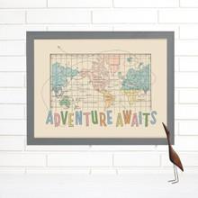 """Adventure Awaits"" Lithograph Wall Map"
