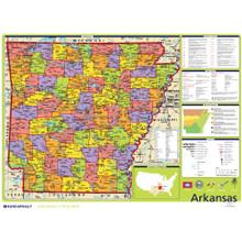 Arkansas Political State Wall Map