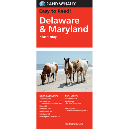 Easy To Read: Delaware, Maryland State Map