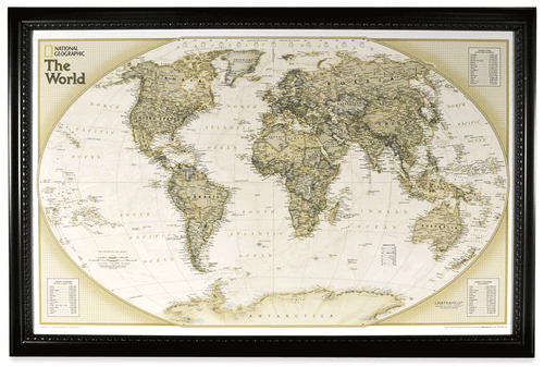 Maps atlases wall maps page 1 rand mcnally store lightravels world executive explorer map antique ocean gumiabroncs Gallery