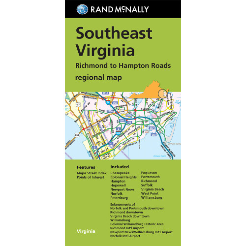 Folded Map: Southeast Virginia Richmond to Hampton Roads Regional Map
