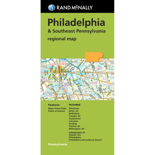 Folded Map: Philadelphia & Southeast Pennsylvania regional map