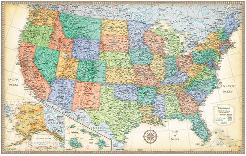 Map of usa on cork board amazon com 24x36 united states usa map of usa on cork board maps u0026 atlases wall maps page 1 rand mcnally store gumiabroncs Images