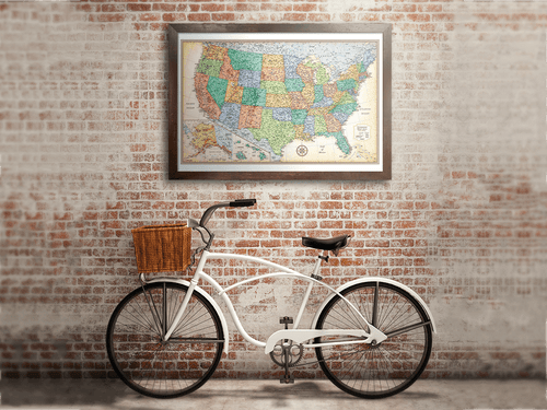 Classic edition world framed wall map rand mcnally store classic edition us framed wall map gumiabroncs Images