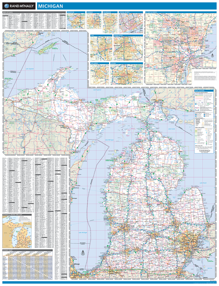 Rand mcnally michigan state wall map gumiabroncs Images