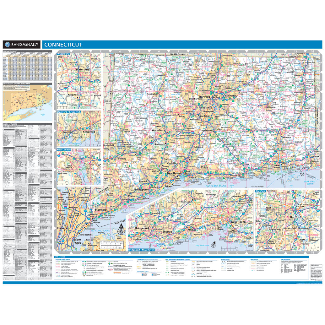 Rand McNally Connecticut State Wall Map
