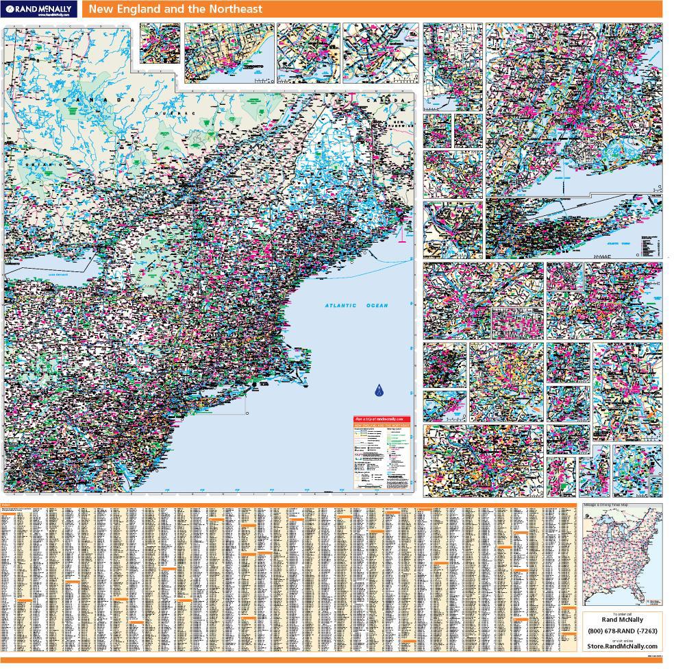 Rand McNally ProSeries Regional Wall Map New England - Rand mcnally easy to fold maps