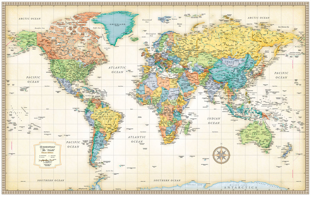 Classic Edition World Wall Maps Rand McNally Store - Rand mcnally online maps
