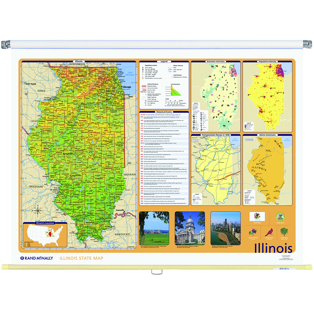 Illinois Physical-Political State Wall Map - Rand McNally Store
