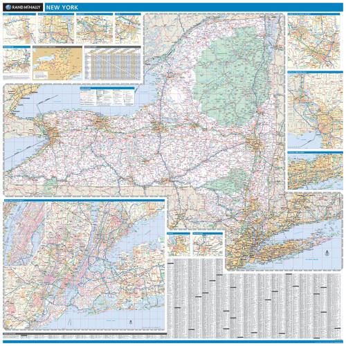 Rand Mcnally Gps >> Rand McNally New York State Wall Map