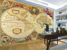 Antique world map wall mural rand mcnally store antique world map wall mural gumiabroncs Image collections
