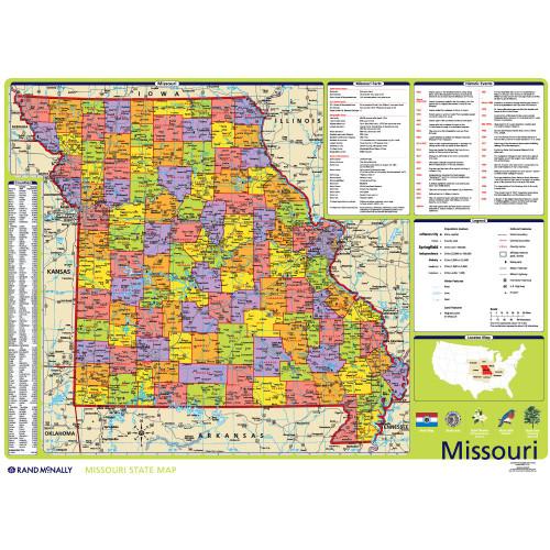 Rand Mcnally Gps >> Missouri Political State Wall Map - Rand McNally Store