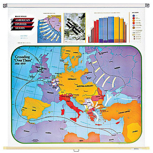 Crusading Over There Wall Map (1914-1919 Europe) - Rand McNally Store