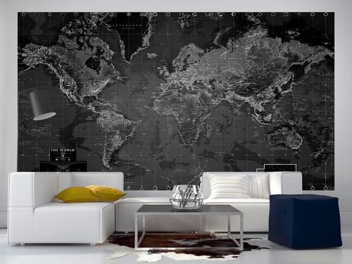 Rand Mcnally Gps >> Black and White World Map Wall Mural - Rand McNally Store