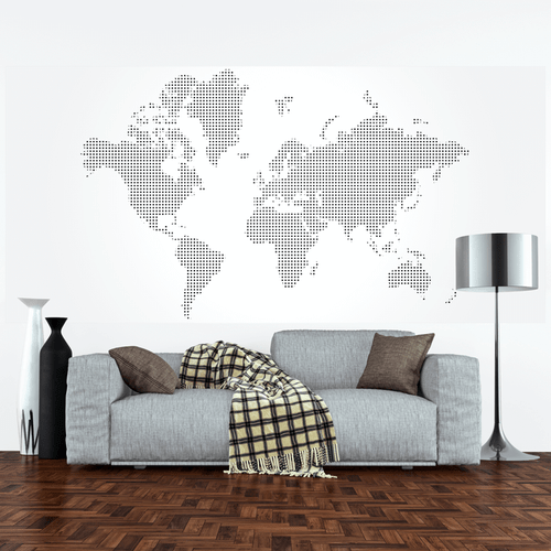 Dotted world map wall mural rand mcnally store gumiabroncs Choice Image